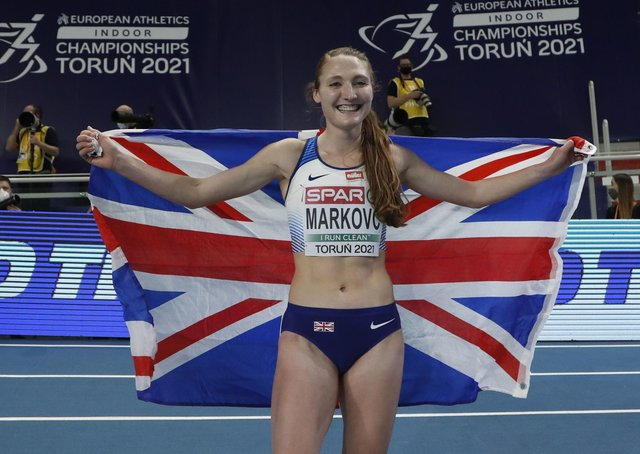 Britains Amy-Eloise Markovc celebrates after winning the women's 3000 meters final at the European Indoor Athletics Championships.