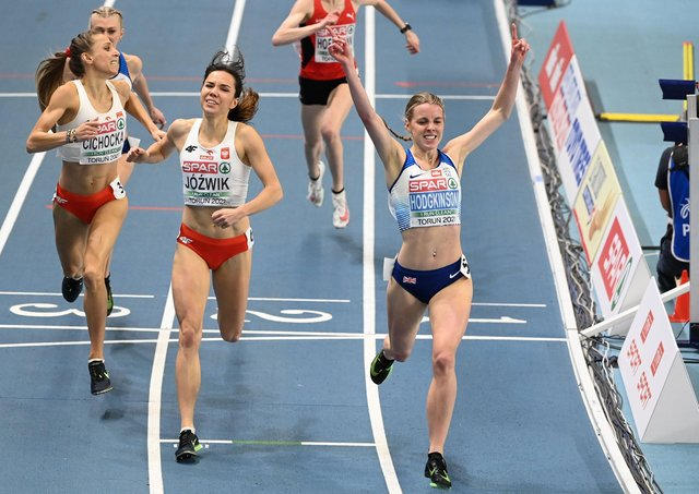 GOLDEN MOMENT: Britain's Keely Hodgkinson wins the women's 800m final at the 2021 European Athletics Indoor Championships in Torun. Picture: Sergei Gapon/AFP via Getty Images.