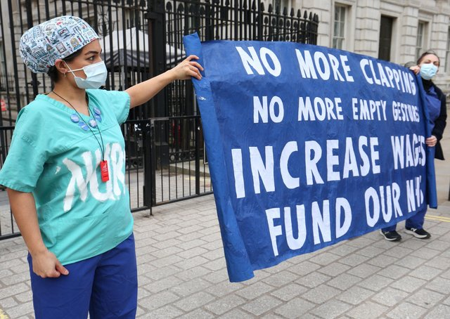 NHS staff protested outside 10 Downing Street after the Government's proposed a one per cent pay increase.