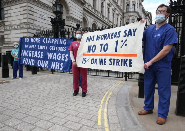 There have been protests after it was recommended that NHS staff receive a one per cent pay rise.