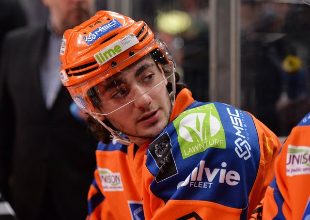 HELLO< AGAIN: Liam Kirk, on the Sheffield Steelers' bench during the 2018-18 EIHL season, where he first came to the attention of NHL scouts. Picture: Dean Woolley.