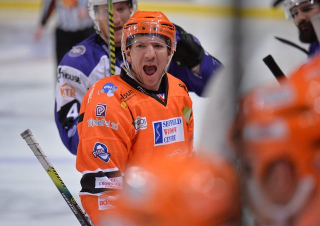 COME AGAIN? Sheffield Steelers' head coach Aaron Fox hopes to see Brendan Connolly on the ice for the EIHL Series next month. Picture: Dean Woolley.