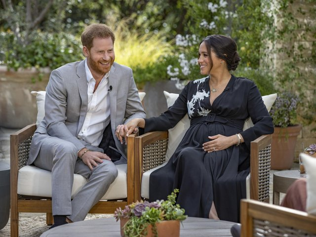 The Duke and Duchess of Sussex during their interview with Oprah Winfrey.  Photo:  Joe Pugliese/Harpo Productions/PA Wire