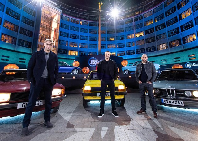 Freddie Flintoff, Paddy McGuinness and Chris Harris in the new series of Top Gear.  Picture: PA Photo/BBC/Jeff Spicer.
