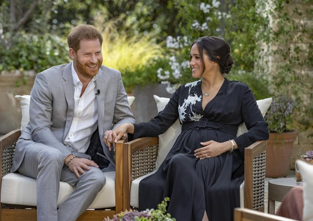 The Duke and Duchess of Sussex during their interview with Oprah Winfrey. Photo: Joe Pugliese/Harpo Productions via AP.