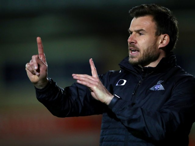 Doncaster Rovers boss Andy Butler issues the instructions to his players at Crewe. Picture: PA.