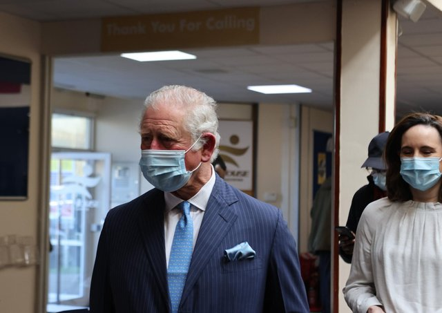 The Prince of Wales during a visit to a pop-up NHS vaccine centre on the morning after ITV broadcast Oprah Winfrey's interview with the Duke and Duchess of Sussex.