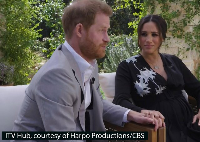 The Duke and Duchess of Sussex during their Oprah Winfrey interview.