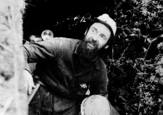 Geoff Workman being carried from the caverns at the end of his underground stint in 1963.
