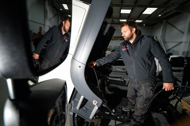 Carl Bucknall, engineer at SM UK. The Leeds-based firm installs safety systems for commercial vehicles.