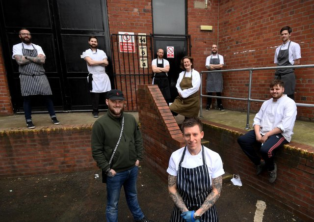 Dale Spink (front) is running  Hope Kitchen, Carlton Business Park, Armley, Leeds for Vulnerable Citizens Support and recruited some well known chefs including Steph Moon and Matt Healey..Picture by Simon Hulme