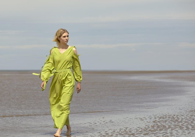 Elizabet dress in green, £190, organic cotto. Each piece is numbered and limited to 100 of each colour. At bocarter.co.uk - picture by Steve Gabbett.