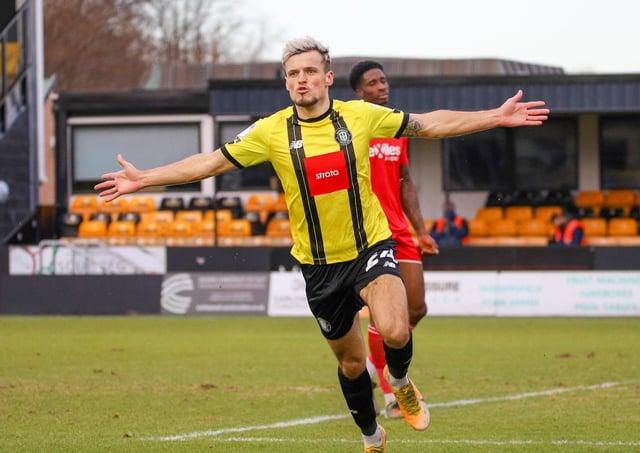 INJURY BLOW: Harrogate'son-loan striker, Josh March. Picture courtesy of Harrogate Town.