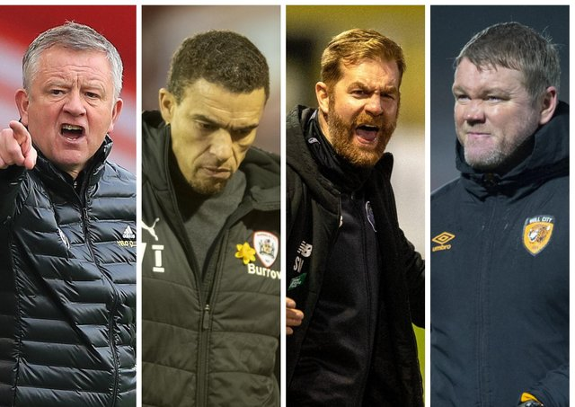 HIGHS AND LOWS: Chris Wilder's Sheffield United continue to struggle in 2020-21, while Valerien Ismael, Simon Weaver and Grant McCann, far right, are only looking up.