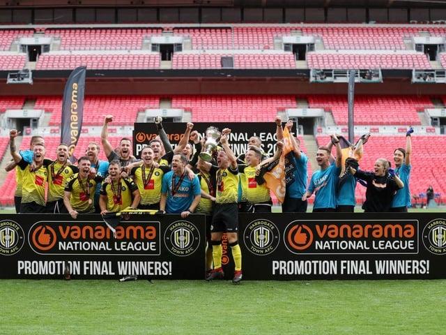 JOY: Harrogate Town won promotion at an empty Wembley last year
