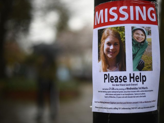 A missing sign outside Poynders Court on the A205 in Clapham, during the continuing search for Sarah Everard. Photo: PA