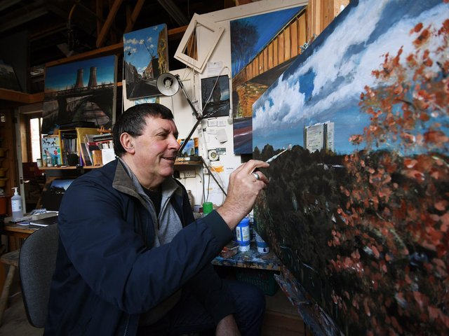 Artist Dave Akehurst, one of the talents selected for the Art Post, working at his studio in Sheffield. (Jonathan Gawthorpe).