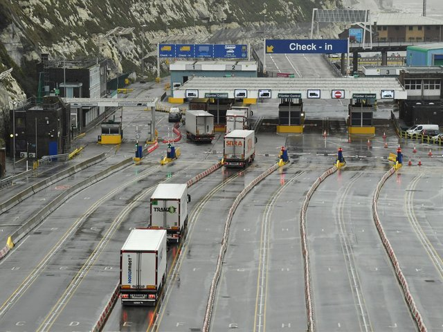 Lorries prepare to embark on a ferry at the Port of Dover following Britain's departure from the European Union. Photo by GLYN KIRK/AFP via Getty Images