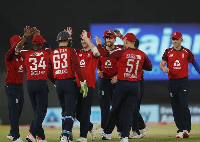 Adil Rashid celebrates the wicket of India captain Virat Kohli of India during the first T20 International in Ahmedabad. Picture:  Saikat Das / Sportzpics for BCCI (via ECB).