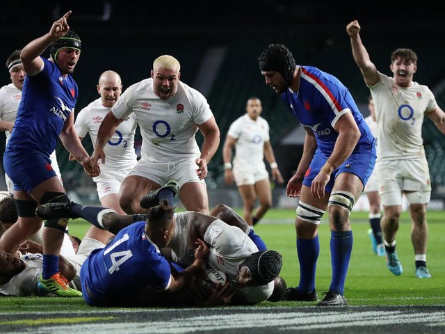 England's Maro Itoje scores in the 76th minute and Ellis Genge celebrates as his side edge close to victory at Twickenham Stadium (Photo by David Rogers/Getty Images)