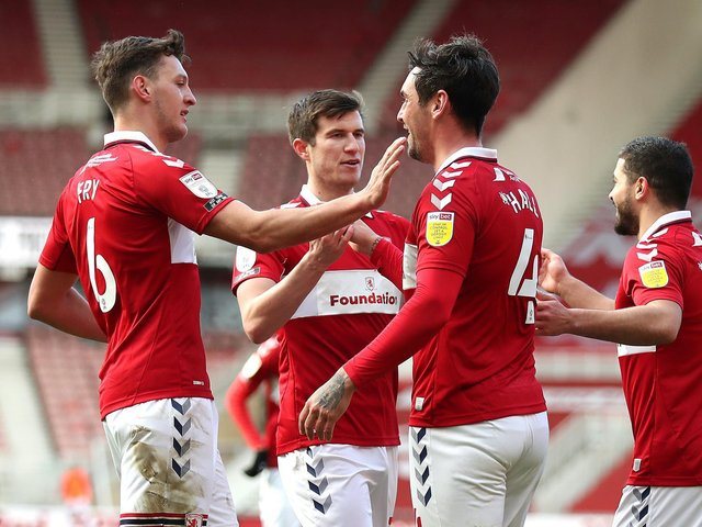 Boro celebrate Grant Hall's first-half opener against Stoke City. Pictures: Getty Images