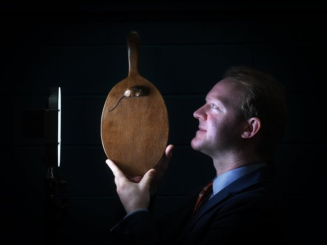 David Elstob with an early Mouseman cheese board