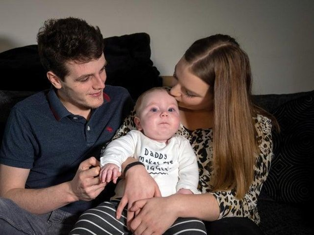 Rosie-Mae Walton, 19, and Wes Powell, 22, with their son Marley who has Type 1 Spinal Muscular Atrophy (SMA) - a condition similar to motor neurone disease (MND)