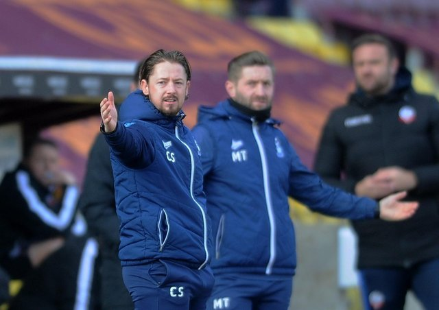 Bradford managers Mark Trueman and Conor Sellars on the touchline (Picture: Simon Hulme)