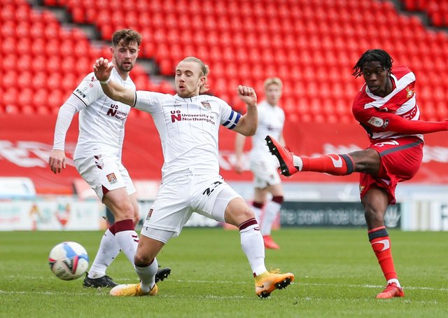 Doncaster Rovers' Taylor Richards shoots towards goal during the League One clash with Northampton at the Keepmoat Stadium. Picture: Isaac Parkin/PA