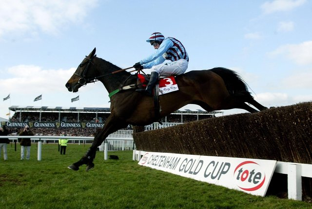 This was Best Mate clearing the last in the 2003 Cheltenham Gold Cup under Jim Culloty.