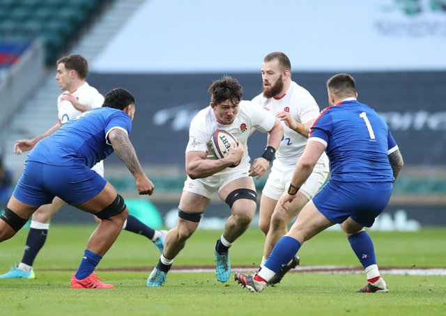BRIGHT FUTURE: England's Tom Curry (centre) in action with France's Romain Taofifenua (left) and Cyril Baille at Twickenham. Picture: David Davies/PA