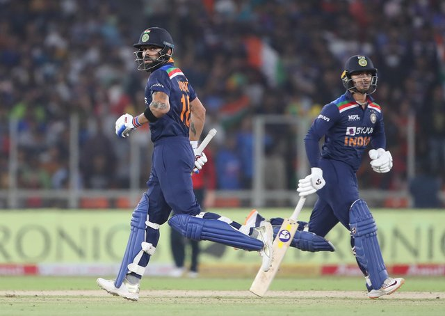 Deadly duo: Ishan Kishan and Virat Kohli laid the foundations for India's seven-wicket success. (Photo by Surjeet Yadav/Getty Images)