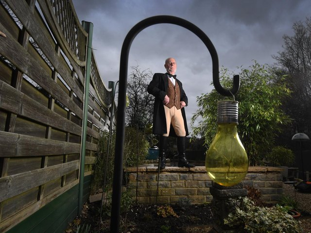 Dr Steve Ward in his ringmaster outfit at home in Kippax. Picture: Simon Hulme.