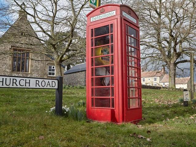The repurposed phonebox in Patrick Brompton, near Bedale