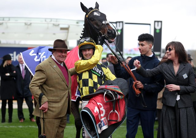 This is Nicky Henderson (left) celebrating last year's Supreme Novices' Hurdle win of Shishkin who puts his unbeaten record on the line in the Arkle Trophy.