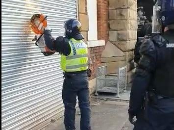 The police raid took place in Wicker, Sheffield on Monday.