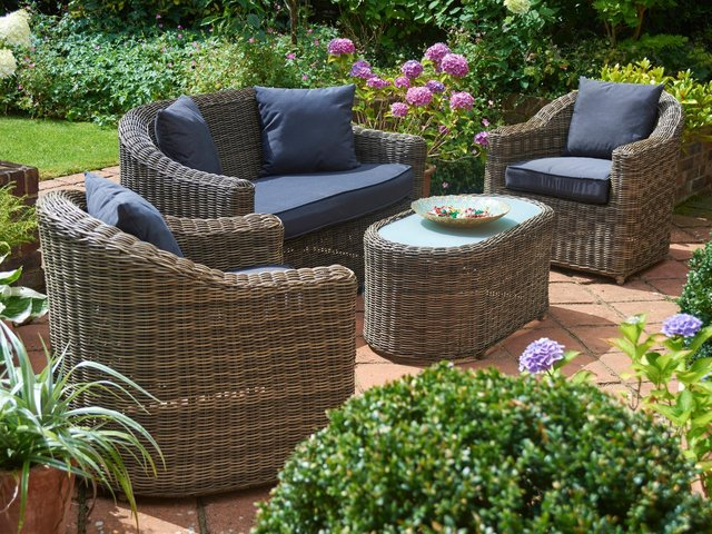 A gorgeous garden, like this one, is a selling point. Furniture by Bridgman