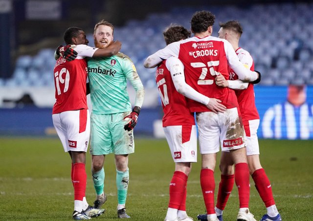 BACK IN THE GAME: Rotherham's players celebrate after their win at Sheffield Wednesday on March 3 - their last match. Picture: Zac Goodwin/PA
