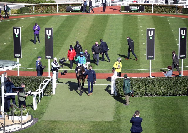 The unique scene after Appreciate It won the opening race at Cheltenham.