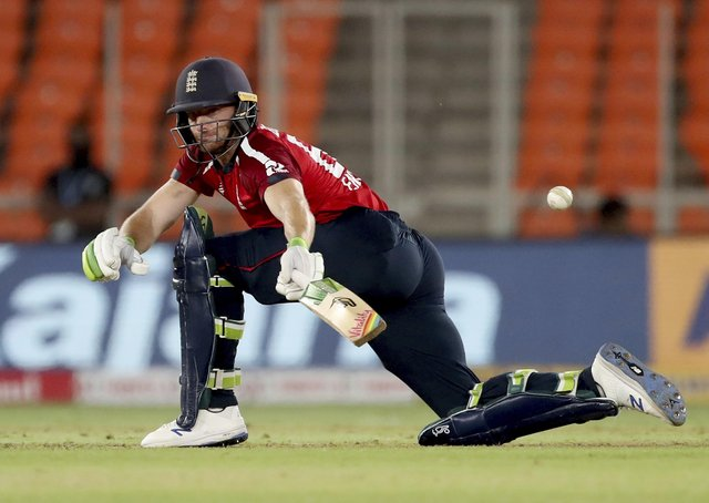 Career best: England's Jos Buttler on his way to a T20i high score of 83 not out in the win over India. (AP Photo/Aijaz Rahi)