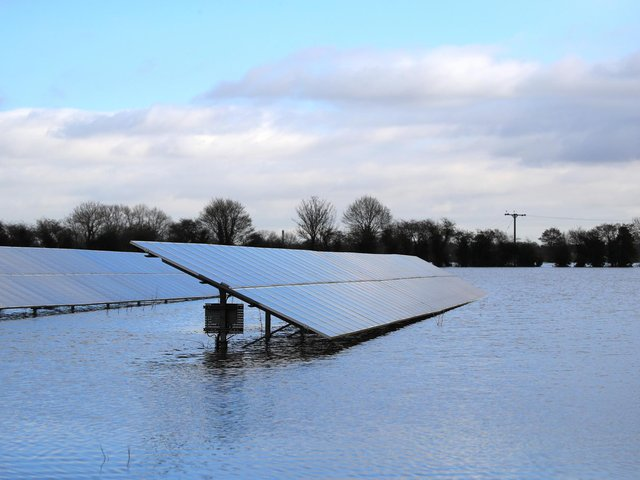 File photo of solar panels in floodwater in East Cowick,Yorkshire. Photo: PA