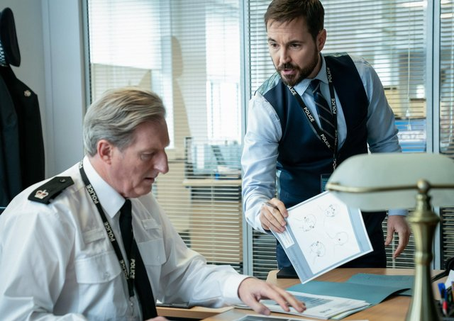 Adrian Dunbar as Superintendent Ted Hastings, Martin Compston as DS Steve Arnott. Picture: PA Photo/BBC/World Productions/Steffan Hill.