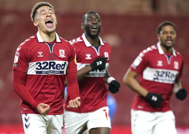 Back with a goal: Middlesbrough's Marcus Tavernier celebrates scoring the second goal. Picture: PA