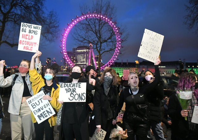 Campaigners from Reclaim The Streets  have been protesting in London in the wake of the Sarah Everard murder inquiry.