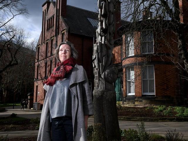 Professor Bridget Bennett outside the house in Leeds where Wilson Armistead lived. (Picture: Simon Hulme).