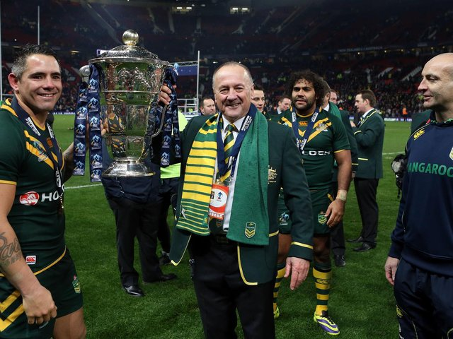 Tim Sheens after winning the 2013 World Cup with Australia (VAUGHAN RIDLEY/SWPIX)
