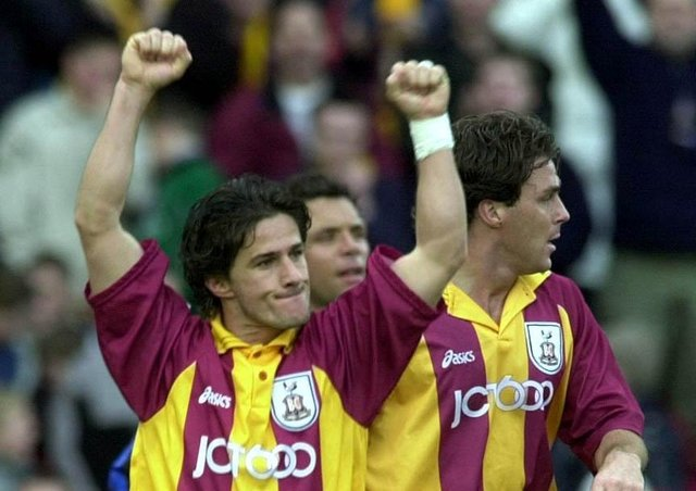 Losing gamble: Star names such as Benito Carbone, top, and Stan Collymore failed to keep Bradford City in the Premier League. (Picture: Rui Vieira/PA)