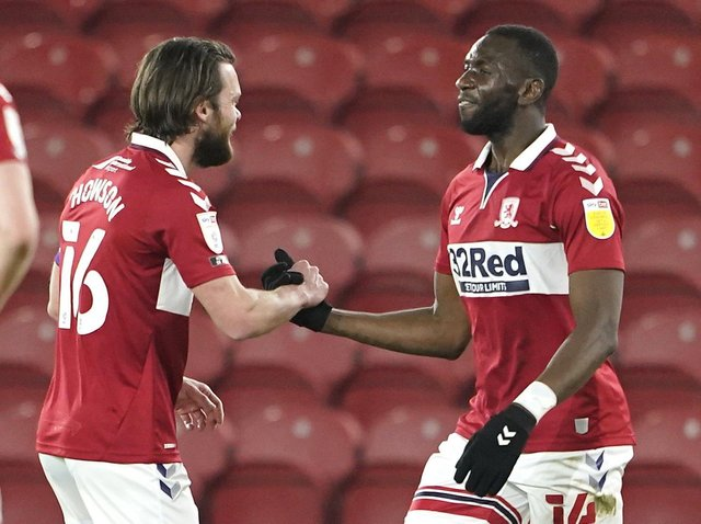 Middlesbrough midfielder Jonathan Howson and winger Yannick Bolaise celebrate the hosts' opener against Preston. Picture: PA.