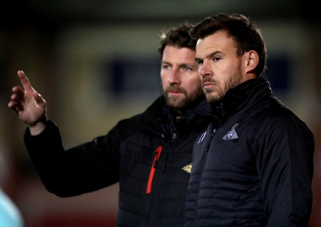 Doncaster Rovers interim manager Andy Butler (right) and goalkeeping coach Paul Gerrard.