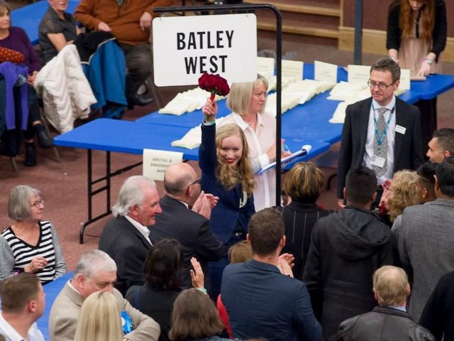 Marielle O'Neill on the night she won a Batley West council seat for Labour in 2015. Picture: Allan McKenzie.